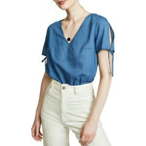 Madewell Chambray Tie Sleeve Top